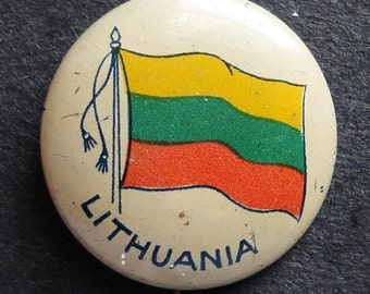 C. 1920 Pinback Button, Flag of Lithuania
