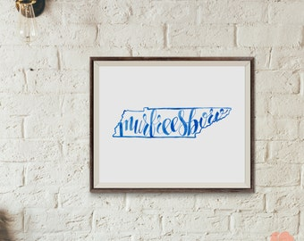 Murfreesboro, Tennessee Watercolor Print  /  8 x 10 Hand lettered Murfreesboro, Tn print | Murfreesboro Print | Tennessee Print