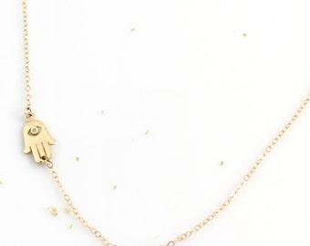 Hamsa Necklace, Hamsa Pendant, Evil Eye Necklace, Hand of Fatima, Hand Necklace, Gold Hamsa, Charm Necklace, Delicate Hamsa