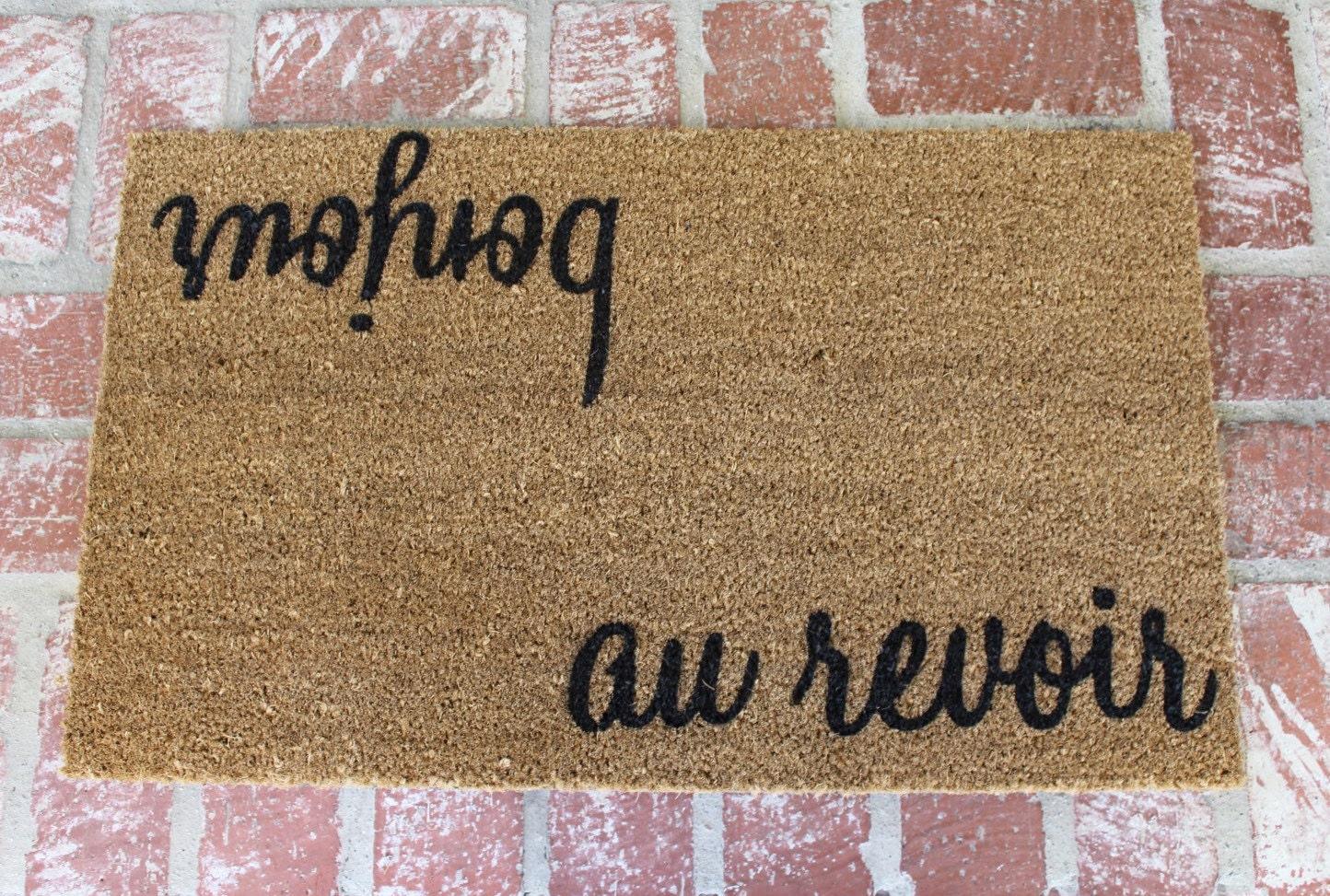 New Bonjour Au Revoir Doormat 18x30 Outdoor Mat