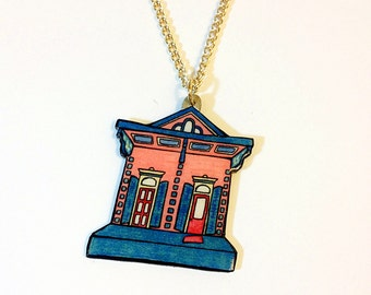 New Orleans Shotgun House in Watermelon and Teal – Orleans Ave. Necklace