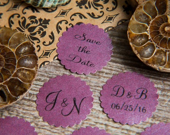 100+ Plum Purple Save the Date Envelope seals, wedding stickers invitations. Printed Scalloped Round wedding Favour stickers Pearlised grape