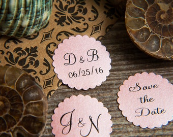 100+ Baby Pink Save the Date Envelope seals, wedding stickers invitations. Printed Scalloped Round wedding Favour stickers. Matt