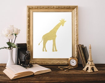 Giraffe Print 8x10 Instant Download Nursery Giraffe Printable Art Zoo Animal Gold Nursery Art Kid's Room Decor Gold Foil Safari Wall Art