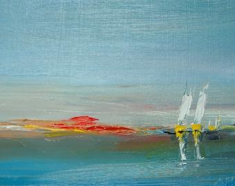 DAWN RHOSNEIGR. Original Seascape Oil Painting, on panel. Varnished.