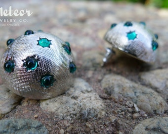 The Moonlite, Green Vintage Inspired Earrings