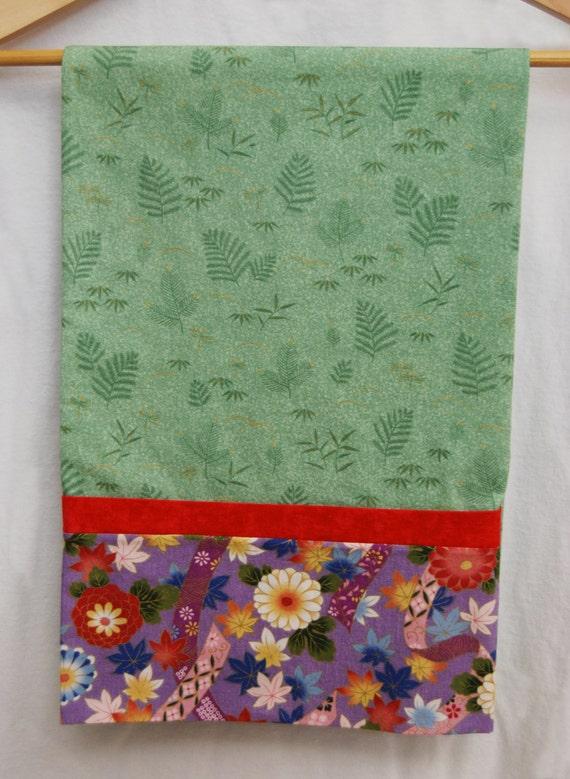 handmade sewn standard size pillow case asian floral pattern. Black Bedroom Furniture Sets. Home Design Ideas