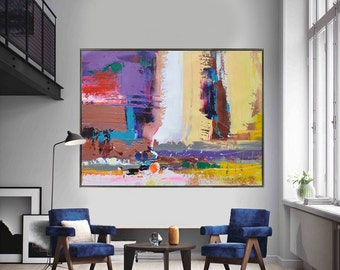 Handmade Extra Large Contemporary Painting, Huge Abstract Canvas Art, Original Artwork by Leo. Hand paint. Brown, yellow, red, blue, pink.