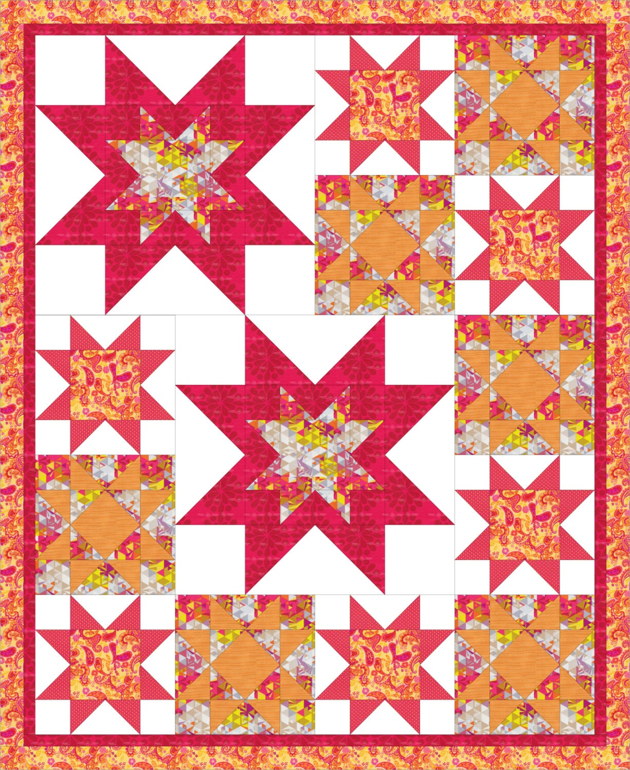 Modern Quilt Patterns Free Download : Modern bold throw quilt PDF pattern All About The Stars