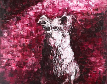 Oil Painting Old Friend The Dog - Original Artwork, Home Decor, Wall Decor, Wall Hanging Art, Animal, 50x60cm