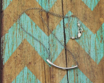 Modern, Sterling Silver, Curved Tube Necklace; 16, 17, 18, 19, and 20-Inch Sterling Silver Cable Chain