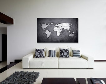 Silver Black World Map Canvas Print, Wall Decor, World Map Canvas Print, World Map Art Decor, Large Wall Art, Gift Idea [PXWM03-C]