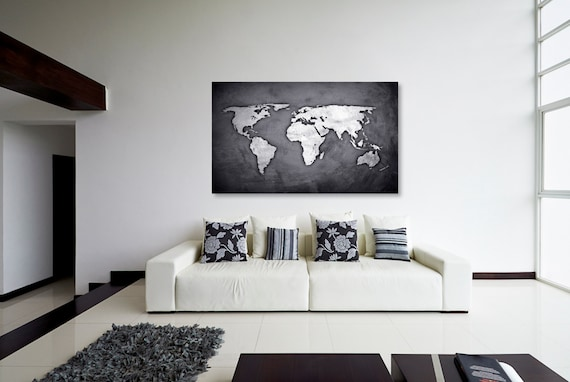 Silver black world map canvas print wall decor world map like this item gumiabroncs Gallery