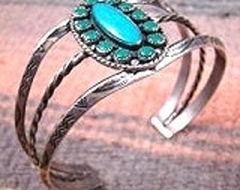 Vintage Zuni 13pc Turquoise Stamped Satellite Bracelet-Item # 742P