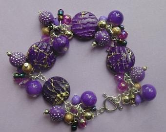 Purple Silver Tone Cluster Bead Bracelet