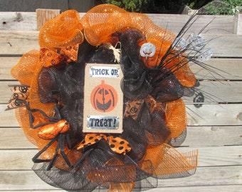 "24"" Halloween Wreath Halloween Deco Mesh Wreath Trick Or Treat Deco Mesh Wreath Jack O Lantern Wreath Spider Wreath Black Orange Wreath"