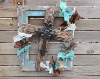 cross wall art rustic cross decor aqua frame cross art wooden frame wooden cross art crosses religious wall art cross frame cross wall decor