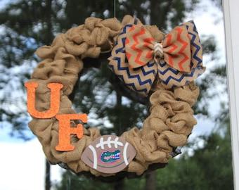 University of Florida Burlap Wreath - Football wreath - Florida Gator's Wreath