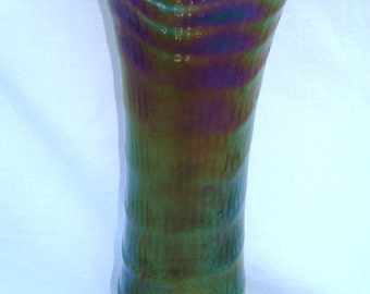 "12 1/2"" Vintage Imperial Smokey Carnival Glass Ripple Vase"
