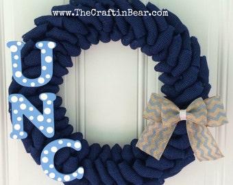 University of North Carolina burlap wreath - UNC - Tar Heels- UNC Tar Heels - Carolina blue - University of North wreath