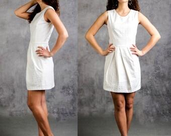 SUMMER SALE White Sleeveless summer mini dress/ Bridresmaid summer mini dress, Summer pleated skirt short dress