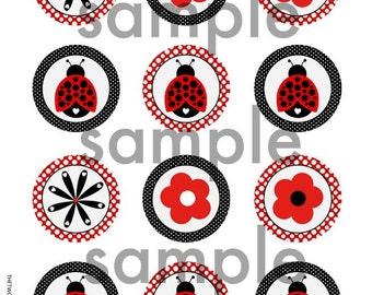 "INSTANT LADYBUG CUPCAKE Toppers 2"" Circles digital file Ladybug and Flower Theme Birthday Printables"