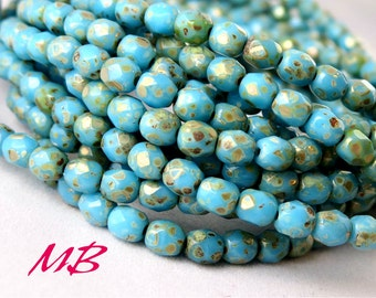 50 4mm Baby Blue Picasso Faceted Glass, Sky Blue Czech Fire Polished 4mm