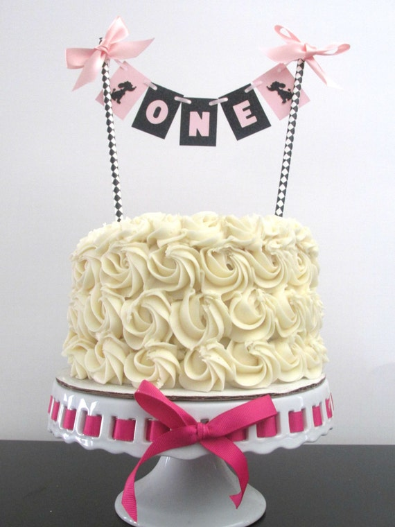 One Cake Topper One Cake Bunting Age Cake Topper Paris Cake Topper