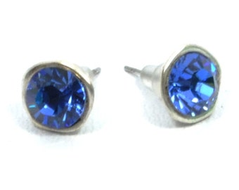 sapphire stud earrings, silver birthstone ear studs, sapphire blue swarovski crystal earrings, september jewelry, bridesmaid jewelry