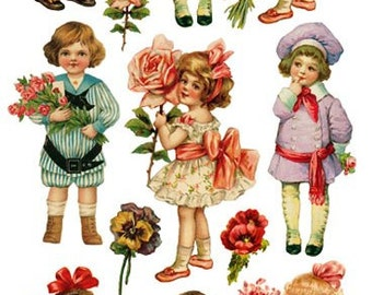 Stickers-Bouquet Children-Decoupage-Collage-Mixed Media-Scrapbooking-Clear Stickers-2 Sheets-Violette Stickers