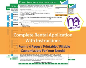 Printable Editable Fillable Customize PDF Rental Lease Application Form