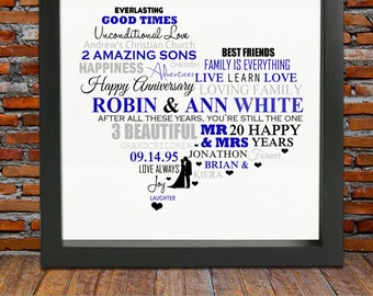 Personalized 20th Anniversary gift - 20th anniversary, 20th wedding anniversary gift, 20th anniversary gifts