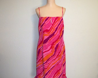 Party Dress Sleeveless Silk Dress Spaghetti Straps Hot Pink Dress Purple Orange Festival Dress Summer Dress Size 12 Large Womens Clothing