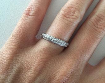Knife Edge Wedding Band Cubic Zirconia Ring Diamond Anniversary 14K Gold