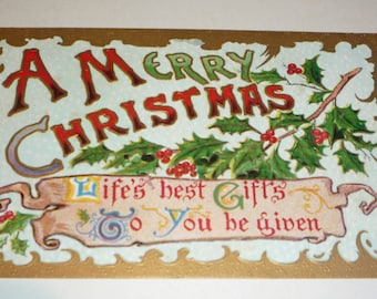 A Merry Christmas Antique Postcard