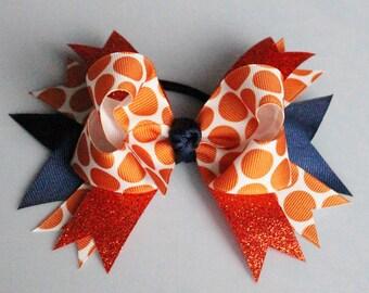 Polka Dot Hair Bow - Big Hair Bow - Team Colors - Boutique Style Hair Bow - Stacked Hair Bow - Sparkly Cheer Hair Bow