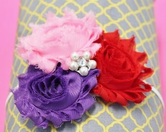 Shabby Chic Flower Headband with Bling - Shabby Chic Flowers