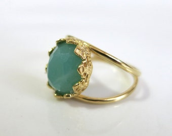 Amazonite ring, Gold ring, Green Amazonite Ring, Green Gemstone Ring, Amazonite Stone Ring, Delicate Ring, Amazonite Jewellery, Gift for her