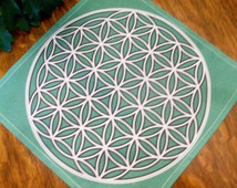 "12""x12"" Prosperity5 Crystal Grid Cloth, Citrine,Peridot,Jade, Grid Template, Increase Your Prosperity Abundance For Love, Money, Happiness"