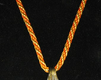 Orange & Gold Kumihimo Necklace with Pendant 9