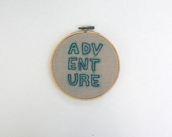 adventure watercolor embroidery hoop
