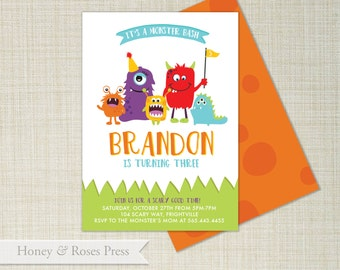 Monster Birthday Invitation  . Halloween Invite . Monsters Invitation . Monster Party Invite . Printable Invitation