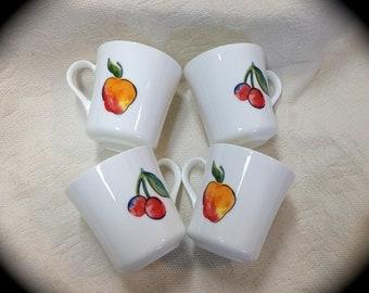 Vintage Corning Mugs, Fruit Too Pattern, Corelle, Fruit Too Mugs, Apples and Cherries, White Milk Glass, 1980s, Set of 4 Mugs