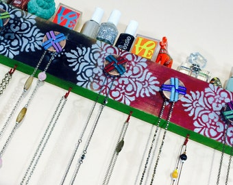 Necklace holder reclaimed wood wall rack /hanging jewellry organizer/ jewelry storage hanger stenciled mandalas 6 red hooks 5 knobs