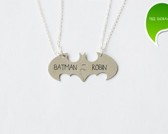 Free engraving!!! Choose your text!!! Two Piece Custom Batman Puzzle!  Sterling silver chain!