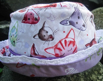 Kitty sunhat, Cat sunhat, Reversible Bucket Hat, 19 inch circumference, sunhat for girls, sunhat for babies, bucket hat for babies