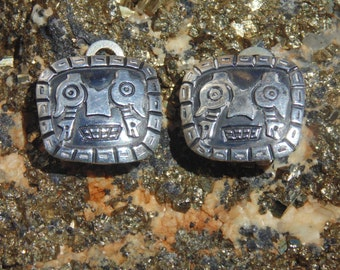 Chavez ~ Vintage Peruvian Sterling Silver Pre Columbian Tribal Face Clip On Earriings