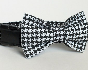 Black Houndstooth Dog Collar Bow Tie set, pet bow tie, collar bow tie, wedding bow tie