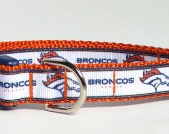 Denver Broncos on Orange Dog Collar, denver broncos dog collar