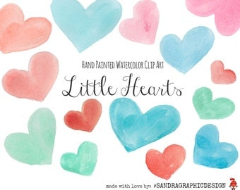 "Hearts clipart: ""LITTLE HEARTS""  handpainted hearts in red and blue colors, 50 clipart 300 dpi PNG  files (5146)"
